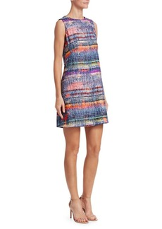 Armani Multicolor Sleeveless Tweed Dress