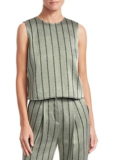Armani Multistripe Lurex-Knit Sleeveless Blouse