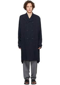 Armani Navy Cupro Double-Breasted Trench Coat
