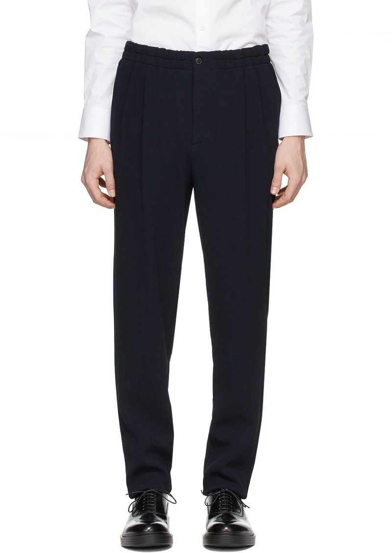 Armani Navy Wool Sandwashed Trousers