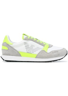Armani neon-trimmed suede-panel low top trainers
