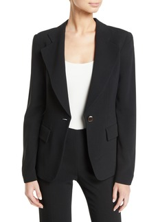 Armani Notched-Lapels One-Button Cady Jacket w/ Ruched Back Detail