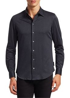 Armani Novelty Chevron Print Sport Shirt
