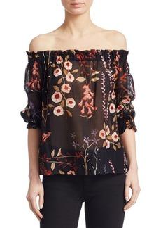 Armani Off-The-Shoulder Floral Blouse