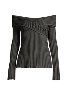 Armani Off-The-Shoulder Lurex Knit Top