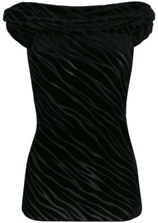 Armani off-the-shoulder velvet devoré top