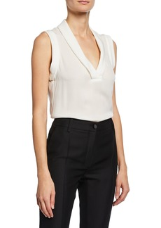 Armani Onda Sleeveless Folded V-Neck Blouse