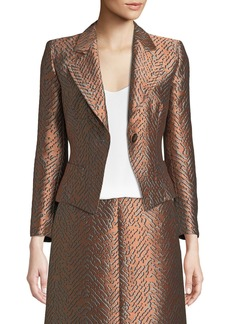 Armani One-Button Classic Metallic Jacquard Jacket