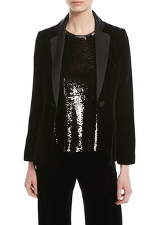 Armani One-Button Classic Velvet Tuxedo Jacket