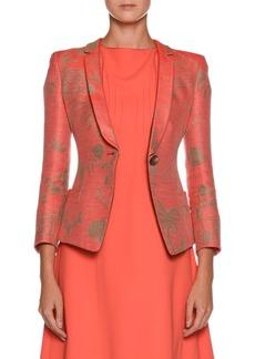 Armani One-Button Garden-Print Silk Jacket