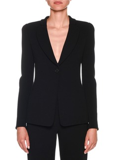Armani One-Button Jersey Long Jacket