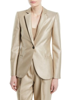 Armani One-Button Metallic Wool Classic Jacket