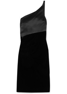 Armani One-shoulder Stretch-satin And Stretch-velvet Dress
