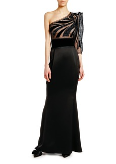 Armani One-Shoulder Tulle Satin Gown