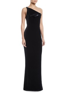 Armani One-Shoulder Velvet Jersey Column Evening Gown w/ Satin Trim