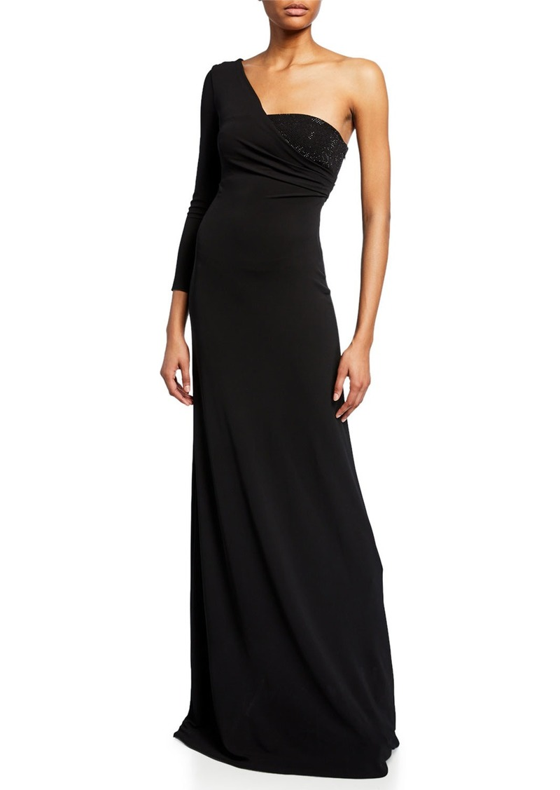 Armani One-Sleeve Velvet Gown