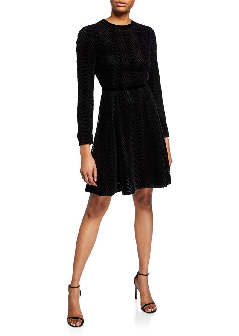 Armani Open-Back Wavy Lace & Velvet Cocktail Dress