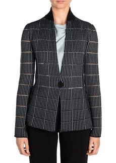 Armani Ottoman Contrast Collar One-Button Blazer