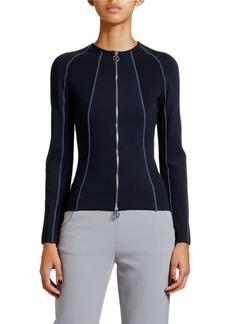 Armani Ottoman Ribbed Zip-Front Jacket