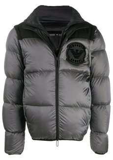 Armani padded logo-patch jacket