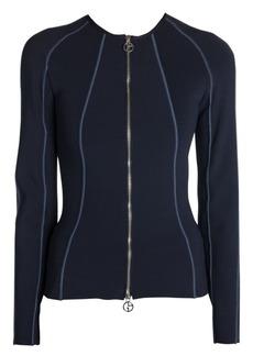 Armani Paneled Ottoman Jersey Zip Jacket