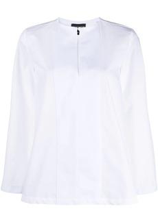 Armani panelled-bib cotton blouse