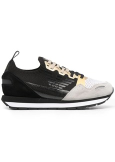 Armani panelled lace-up trainers