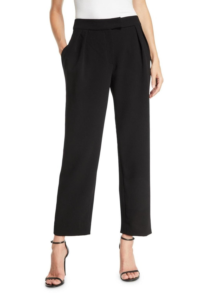 Armani Pebble Crepe Pleated Straight-Leg Fashion Pants