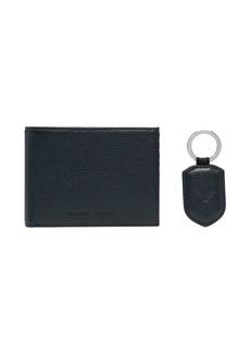 Armani pebbled leather wallet keyring set