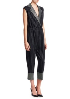 Armani Pinstriped Crossover Cropped Jumpsuit