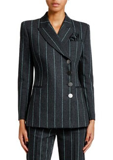 Armani Pinstriped Flannel Double-Breasted Jacket