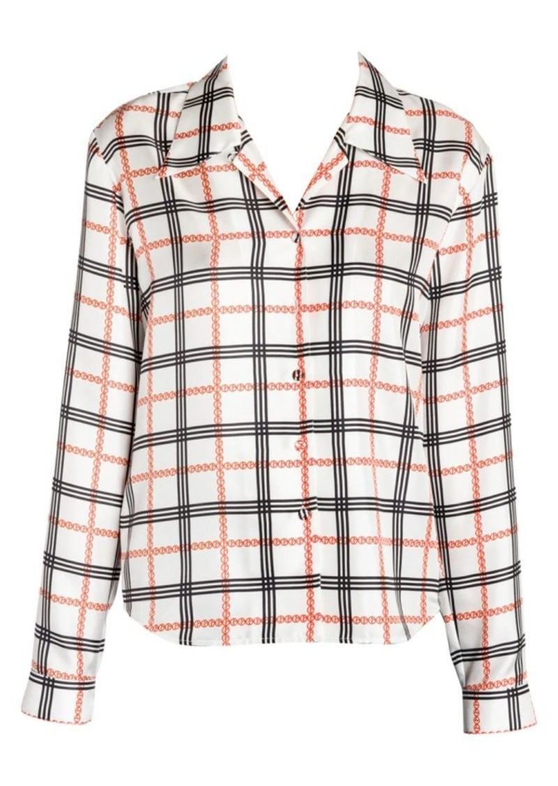 Armani Plaid Logo Print Silk Blouse