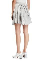 Armani Pleated Crinkled-Cotton Skirt