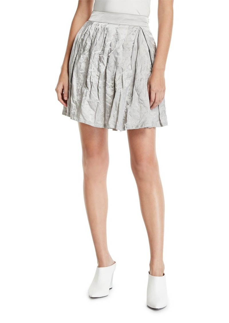 Armani Pleated Crinkled-Cotton Skirt