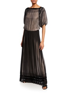 Armani Pleated Mock-Neck Sleeveless Chiffon Gown
