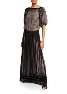 Armani Pleated Mock-Neck Sleeveless Chiffon Gown