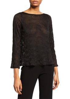 Armani Pleated Sheer-Striped Easy Top