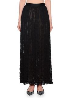 Armani Pleated Sheer-Striped Maxi Skirt