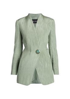 Armani Plissé Silk Single Breasted Jacket