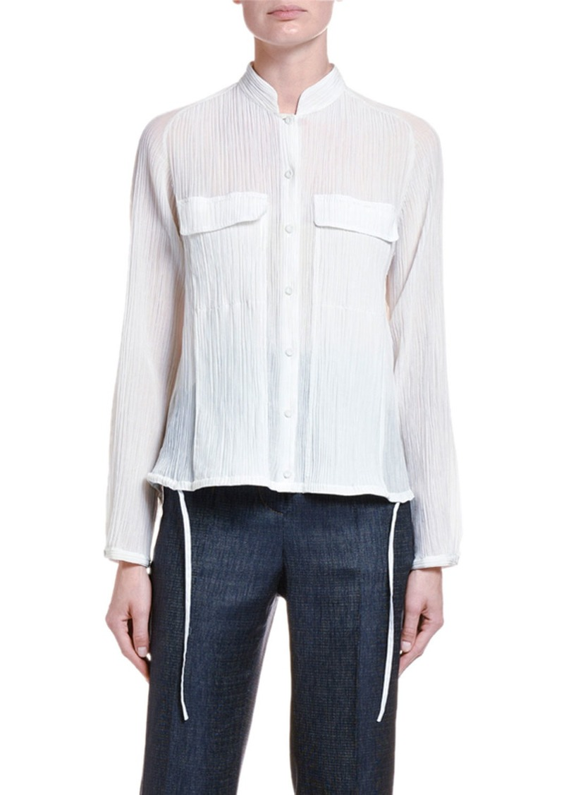Armani Plisse Seersucker High-Low Button Front Blouse