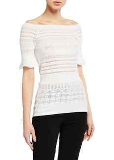 Armani Pointelle Off-the-Shoulder Knit Sweater