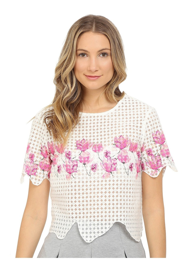 Armani Polyester Embroidered Tulle Blouse