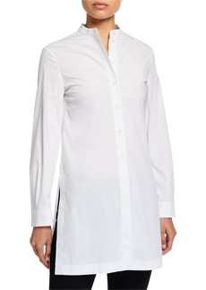 Armani Poplin Slit-Side Button-Front Tunic