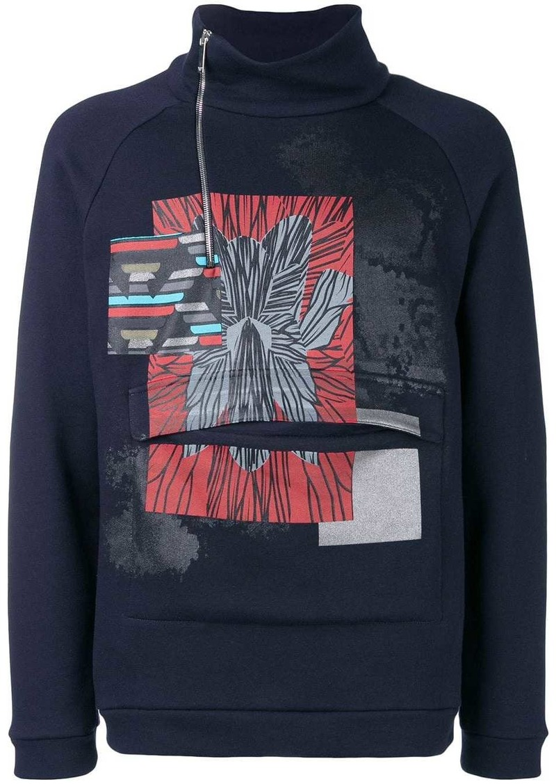 Armani printed high neck sweatshirt
