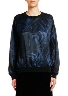 Armani Printed Satin Top with Mesh Overlay