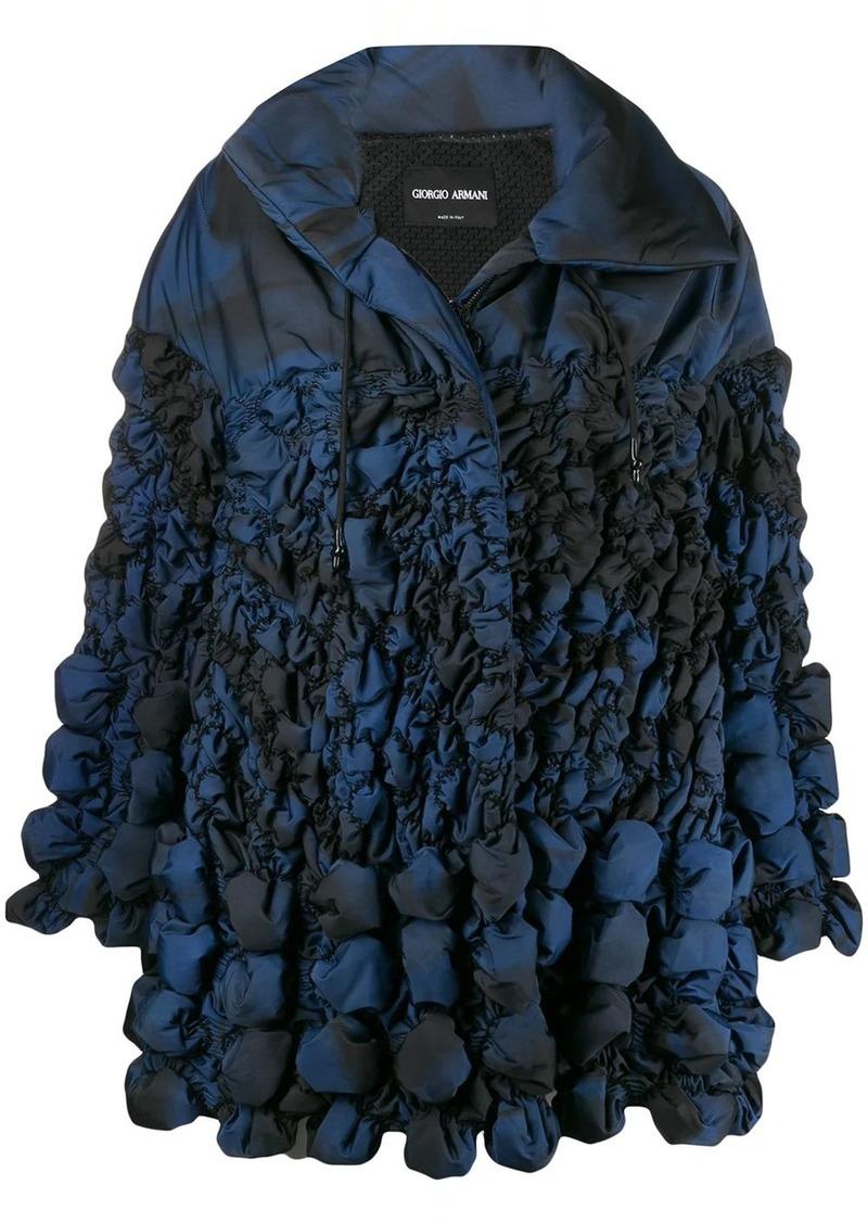 Armani printed shirred shell coat