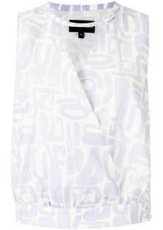 Armani printed wrap top