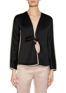 Armani Prive Long-Sleeve Tie-Front Silk Satin Jacket with Tie-Waist