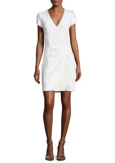 Armani Puff-Sleeve Ruched Dress