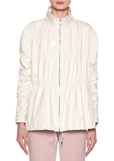 Armani Quilted Ruched-Leather Anorak Jacket